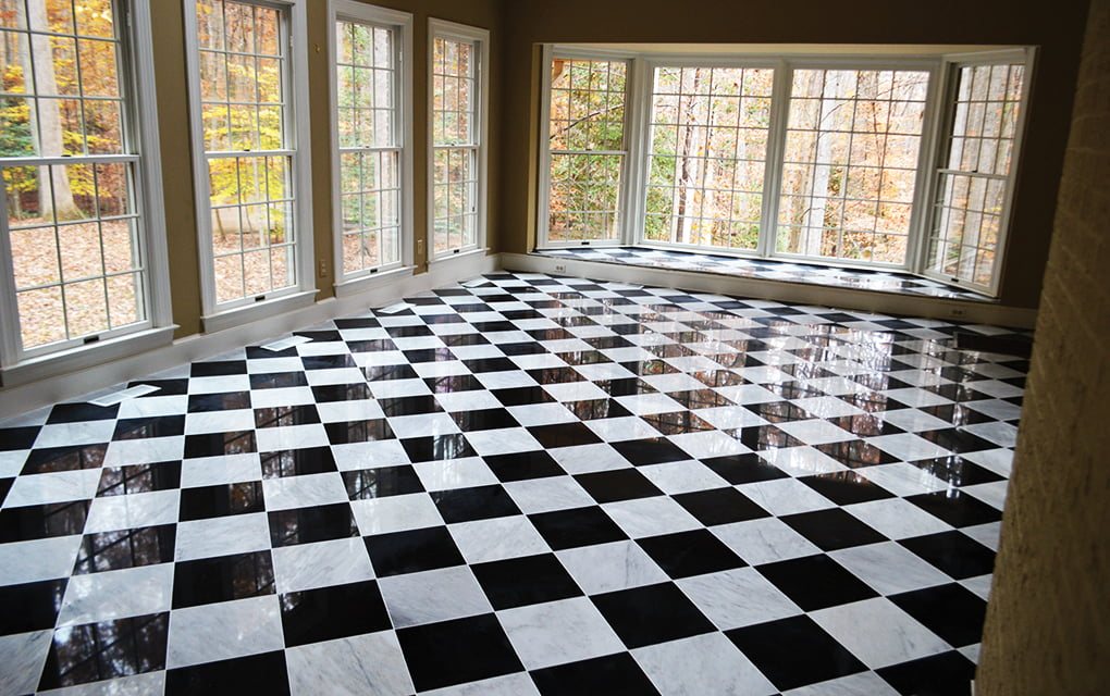 Black and white marble floor tile the for Black and white tile floors
